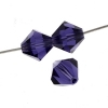 Preciosa Machine Cut bead Rondell 4mm Deep Tanzanite